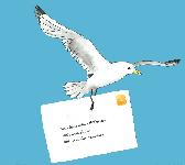 Vogel mit Briefumschlag